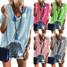 Womens Summer Plain Short Sleeve T-Shirt Blouse Ladies V-Neck Casual Loose Tops