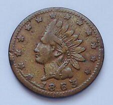 1863 Civil War Patriotic Token ~ # 81 / 351 ~ Indian Head / Flags, Drum. R-1