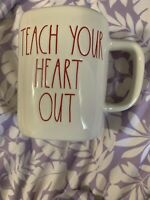 Rae Dunn Teach Your Heart Out Mug Large Letter Red Interior