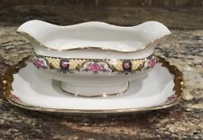 ANTIQUE JEAN POUYAT JPL LIMOGES Gravy Bowl Boat W Attached Liner Roses N Lattice