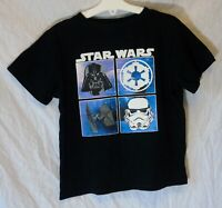 Boys Primark Black Star Wars Darth Vader Storm Trooper T-Shirt Tee Age 7-8 Years