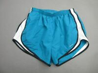 NIKE SIZE M WOMENS BLUE ATHLETIC FITDRY SPORTSWEAR LINED TRACK SHORTS T454