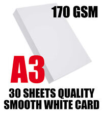 30 SHEETS A3 HIGH QUALITY SMOOTH COLOURED WHITE CARD / PAPER 170GSM