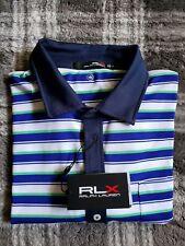 NWT Ralph lauren RLX Golf PoloStriped Shirt Blue Green White Size Large $89.50