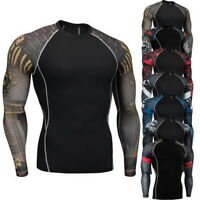 Homme Compression Shirt Quick Dry Athletic Sports Running Manche longue T-Shirt
