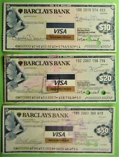 3 different Traveler's Checks, Barclays Bank, 1980, $10, $20, $50.