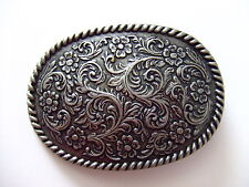 Oval Flower Design with rope edge Antique Nickle Belt Buckle By Century Canada