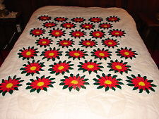Handcrafted Crochet Afghan Throw Blanket ~  32 Christmas RED Flowers ~ complex
