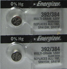 392 / 384 (192 SR41SW SR41W) Silver Oxide Watch Energizer Batteries X 2