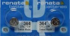 2 PCS RENATA 364 WATCH BATTERIES SR621SW SR621W