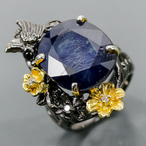 37 ct+ Sapphire gem Blue Sapphire Ring Silver 925 Sterling  Size 7.75 /R173790