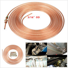 "Copper Nickel Brake Line Tubing Kit 3/16"" 25 Ft / 7.62m Coil Rolls With Fittings"