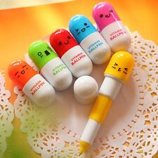 Pen 2 PCS Telescopic Capsul Ballpoint Pen Vitamin Cute Facial Expressions