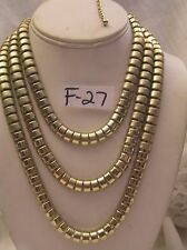 "Gorgeous 3 Shades of  Gold Jewelry Necklace Choker New 15"" 18"" Fashion 3 layer"
