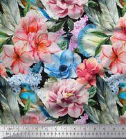 Soimoi Stoff robin, plumeria & Pfingstrose Blumen- Meterware bedrucken-FL-1429A