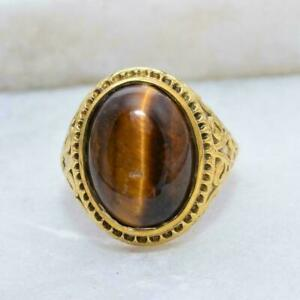 925 Sterling silver 14k Gold plated Tiger Eye Gemstone Men's Ring Size 12