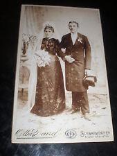 Cdv old photograph wedding bride groom hat denzel Schwabmunchen Germany c1890s