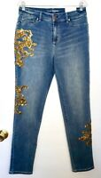 NWT $119 Chico's Platinum Gold Leaf Sequined Jeggings, Arno Indigo, Many Sizes!