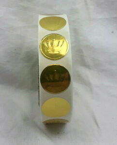 "Hallmark Stationery Embossed Gold Foil Seals 1"" Diameter Gold Crown Sticker Roll"