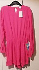 H &M shorts jumpsuit size 6 open back ruched sleeves pockets fushia pink