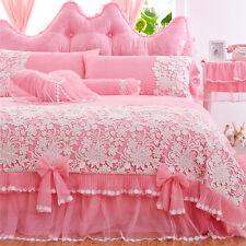 Princess lace bedding set 100% cotton satin jacquard weave duvet cover bed skirt