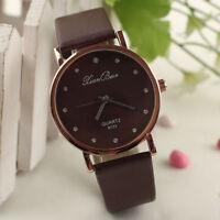 Fashion Women's Diamond Leatheroid Band Round Dial Quartz Wrist Watch Uhren