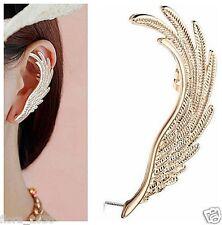 Boucle d'oreille manchette métal doré, plume, oreille Gauche, bijoux fantaisie