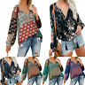 Blouse V-Neck Boho Long Tops Women S-2XL Sleeve Floral Lantern T Shirt Oversize