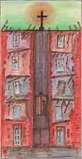 SURREALIST LIFT SHAFT IN RUIN Coloured Drawing ARTHUR MITSON c1985 SURREALISM
