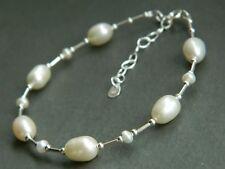 Ivory White Oval Pear Tear Drop Freshwater Pearls & 925 Sterling Silver Bracelet