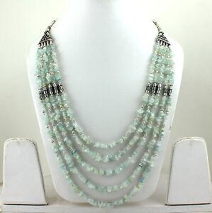 Necklace Natural Aquamarine Gemstone Handmade Semi Precious Stone Beads Jewelry
