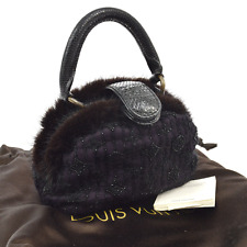 Auth LOUIS VUITTON Demi Lune PM Hand Bag Monogram Mousseline Mink Fur V14588