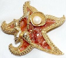Vintage Signed Capri Cultured Pearl Gold Tone Star Fish Coral Branch Brooch Pin