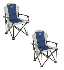 X2 (PAIR) Royal Commander Padded Armchair Chair Blue
