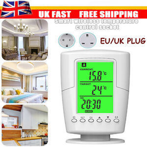 Wireless Thermostat Plug In Temperature Controlled Socket Timer Heating Cooling