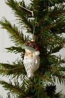 """New Christmas Antique Vintage Style GLASS SANTA FACE Hanging Ornament 5"""""""