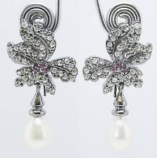 & Pearl Drop 925 Silver Earring Excellent 2.20 ct. Rose Cut Diamond,Ruby