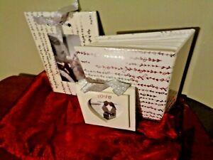 3 Piece White Silver Photo Album & 2 Photo Picture Frame in maroon Organza pouch