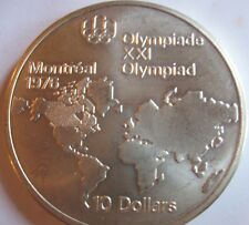 1973 Canadian $10 Sterling Silver Coin Olympic World Map 1.4454 oz KM#86.1 #4773