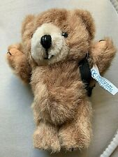 """Jointed Brown Teddy Bear with Backpack Key Ring ? Emblem Products 5"""" tall VGC"""