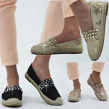 Womens Ladies Studded Slip On Espadrilles Shoes Plimsoles Summer Sandals Size3-8