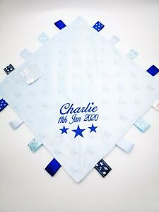 Personalised Baby Soft Dimple 3 STARS  Comforter Taggy taggie tag  Blanket