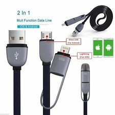 2in1 Micro USB Lightning Charger Cable Lead For iPhone iPad Samsung Android
