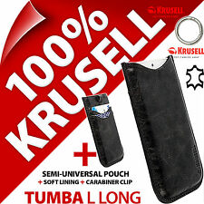 New Krusell Tumba L Long GENUINE LEATHER Mobile Pouch Case Cover Sleeve Slim