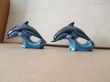 More details for pair poole pottery blue & black dolphins