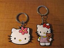 (2) HELLO KITTY Bow Flower Bear ~ Automobile Keychain Key Chain PVC Rubber FOB