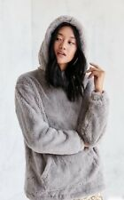 NWT Urban Outfitters Silence Noise gray Faux Fur Hood Popover Sweatshirt Coat S