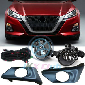 For Nissan Altima 2019-2021 Bumper Bezels Fog Lights Lamps DRL w/ Harness u Kit