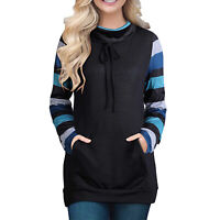 Women's O-Neck Long Sleeve Causal Tops Warm Striped Patchwork Tunic Pullover