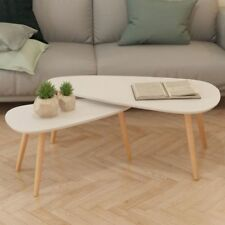 Scandinavian Style Coffee Table Set 2 Pcs White Wood Living Room Side End Tables